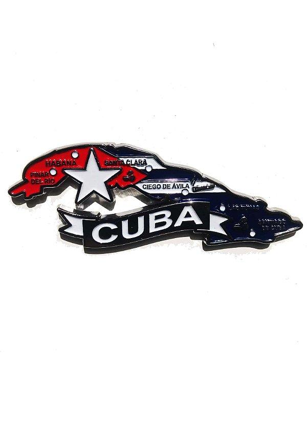 Imã Cuba  - Mapa Cuba com Bandeira, Cidades e Símbolos