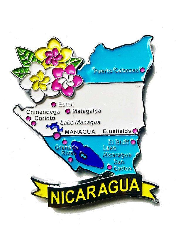 Imã Nicarágua - Mapa Nicarágua com Bandeira, Cidades e Símbolos