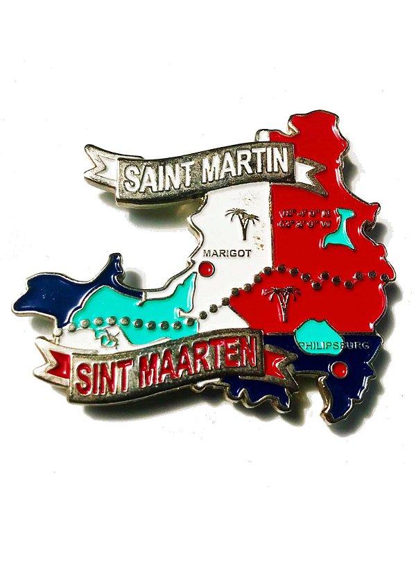 Imã St Marteen e Saint Martin  - Mapa St Marteen e Saint Martin com Bandeira, Cidades e Símbolos