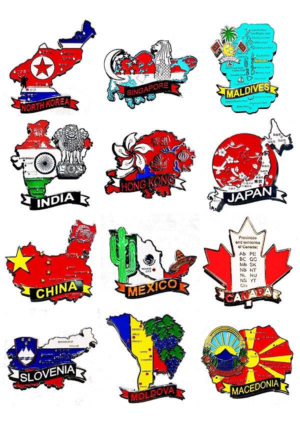 Kit com 10 (dez) un. de Imãs de Mapas de Países com Bandeira, Cidades e Símbolos