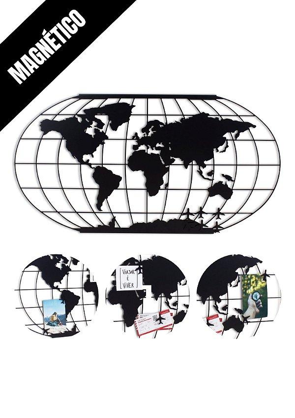 Mapa Mundi Magnético de Metal para Imãs e Fotos - Modelo 002