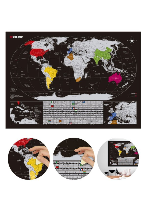 Mapa de Raspadinha Prata - Mapa Múndi de Raspar Viagens - Cidades e Bandeiras - 60x42