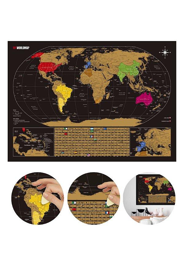 Mapa de Raspadinha Gold - Mapa Mundi de Raspar Viagens - Cidades e Bandeiras - 60x42