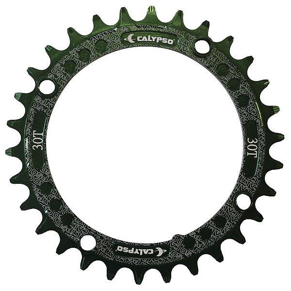 Coroa Calypso em Alumínio CNC 30T BCD 104 padrão Shimano Verde
