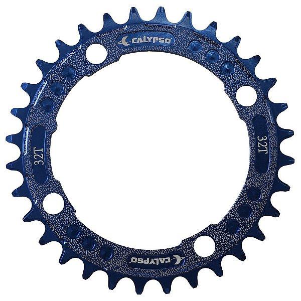 Coroa Calypso em Alumínio CNC 32T BCD 104 padrão Shimano Azul