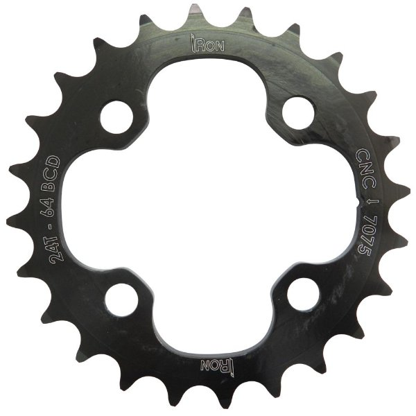 Coroa Iron Indexada BCD64 24T Shimano Duplo 7000/8000 Preto