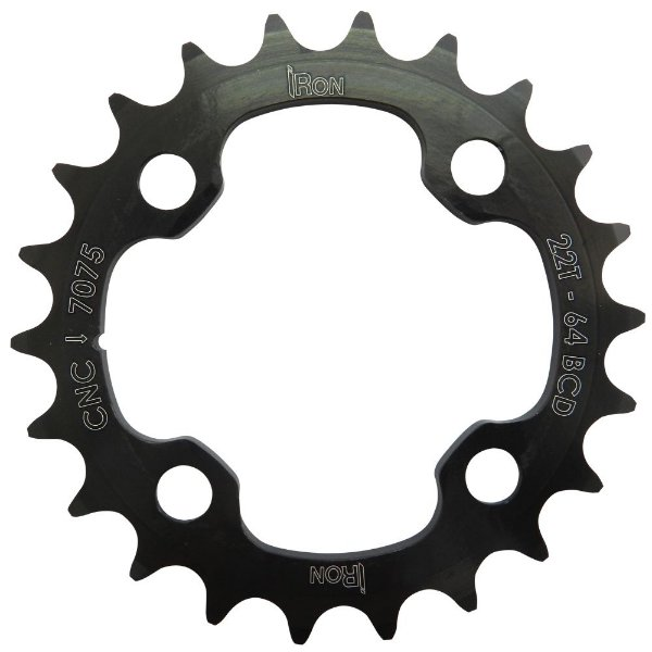 Coroa Iron Indexada BCD64 22T Shimano Duplo 7000/8000 Preto