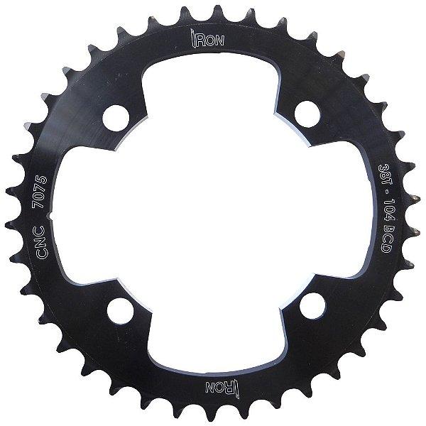 Coroa Iron Indexada BCD104 38T Shimano Duplo Preto