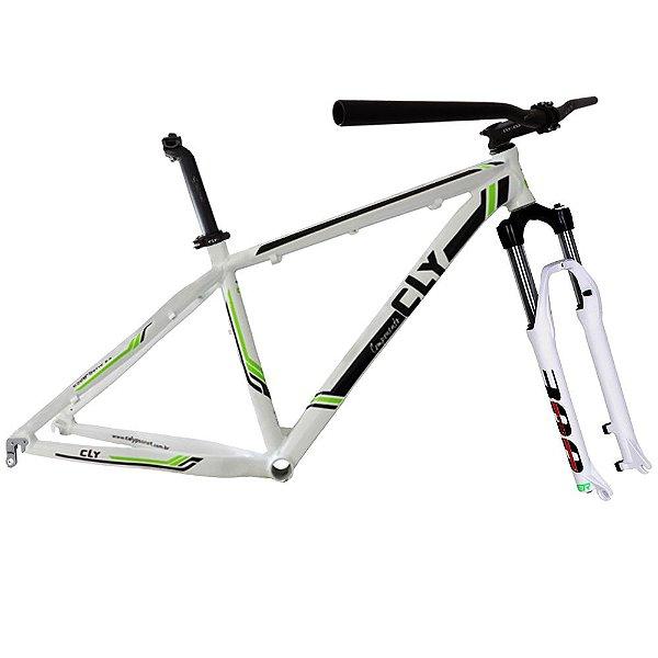 Kit Quadro Bicicleta Cly Z5B 27.7x17 com Suspensão Spinner 300 Branco/Preto