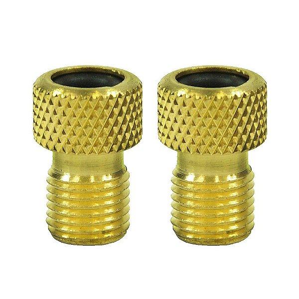 Adaptador de Válvula em Latão com Retentor - Dourado