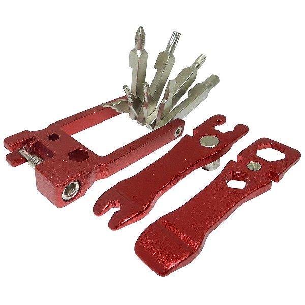 Ferramenta Canivete Cly Multifunção 20 Funções Vermelho/Prata
