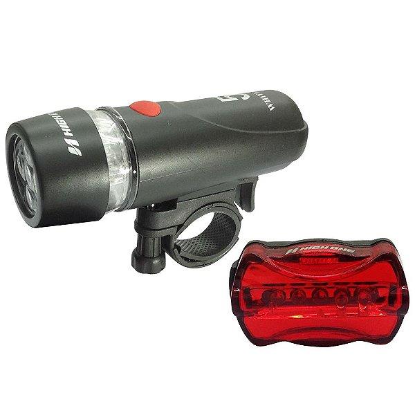 Combo High One Farol Dianteiro 5 Leds + Vista Light Traseiro 5 Leds HOLUZ0012 Preto/Vermelho