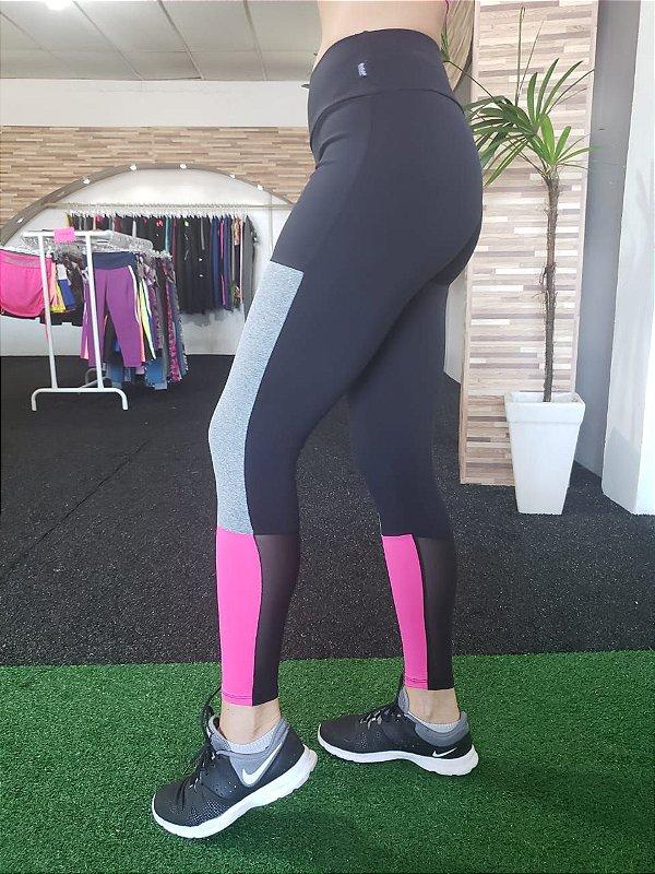 Legging Recorte Suplex/Tule - Preto/Mescla/Rosa