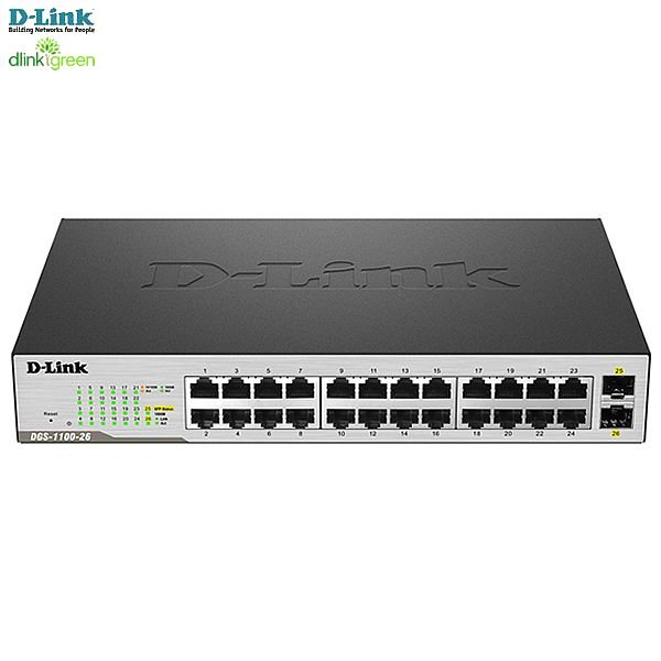 Switch Easy Smart D-link 24 portas 2 SFP Gigabit-Ethernet 10/100/1000Mbps Desktop/Rackmount QoS dlinkGreen DGS-1100-26
