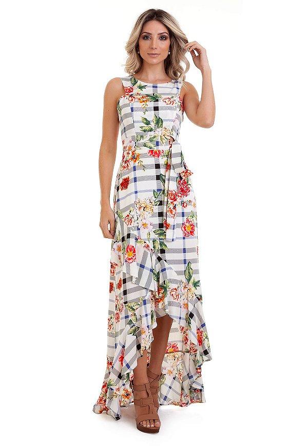 3c4bdf63a591 Vestido Longo Estampado Assimétrico - Loja de Roupas Femininas ...
