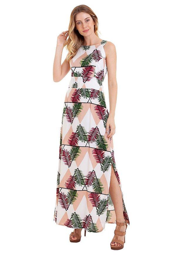 87ad18df1 Vestido Longo Estampado Fendas Laterais - Loja de Roupas Femininas ...