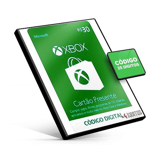 Cartão Microsoft Gift - Xbox - R$30 - 25 Dígitos