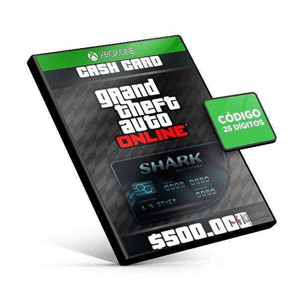 Grand Theft Auto Online: Bull Shark Cash Card 500.000$ - Xbox One - Código 25 Dígitos