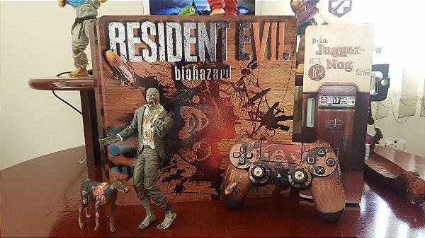 Skin Adesiva para PlayStation 4 - Resident Evil biohazard + 2 Adesivos Light Bar