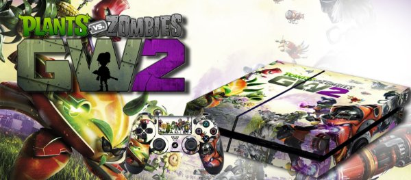 Skin Adesiva para PlayStation 4 - Plantas e Zombies 2 + 2 Adesivos Light Bar