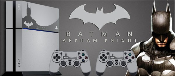 Skin Adesiva para PlayStation 4 - Batman Arkham Knight + 2 Adesivos Light Bar