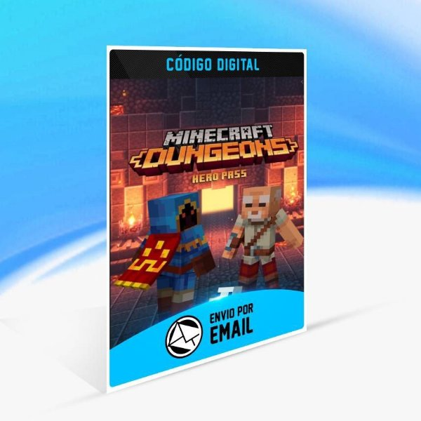 Melhoria do Passe do herói do Minecraft Dungeons - Xbox One Código 25 Dígitos