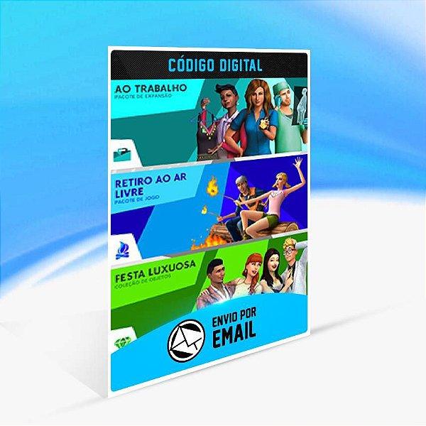 The Sims 4 Bundle - Ao Trabalho, Retiro ao Ar Livre, Festa Luxuosa Coleção de Objetos ORIGIN - PC KEY