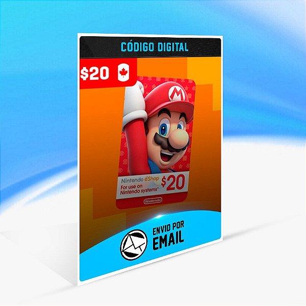 CARTÃO NINTENDO ESHOP CANADA SWITCH / WII U / 3DS $20 DÓLARES