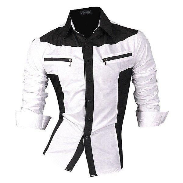 Camisa Detalhe Zíper Branco e Preto - Masculina
