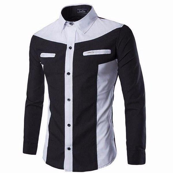 Camisa Detalhe Zíper Preto e Branco - Masculina