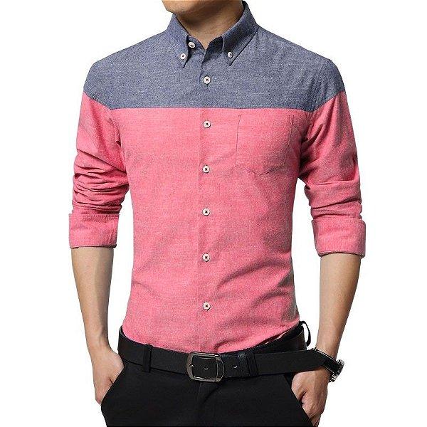 Camisa Bicolor Rosada - Masculina