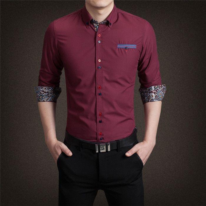 Camisa Punho Estampado Vinho - Masculina