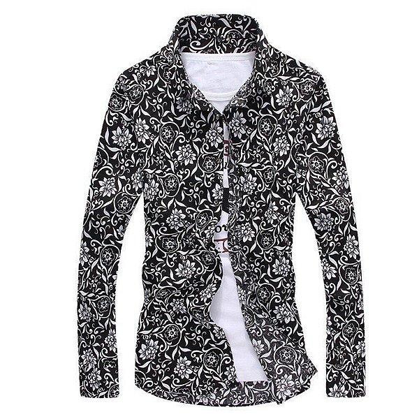 Camisa Floral Arabescos Preto e Branco - Masculina