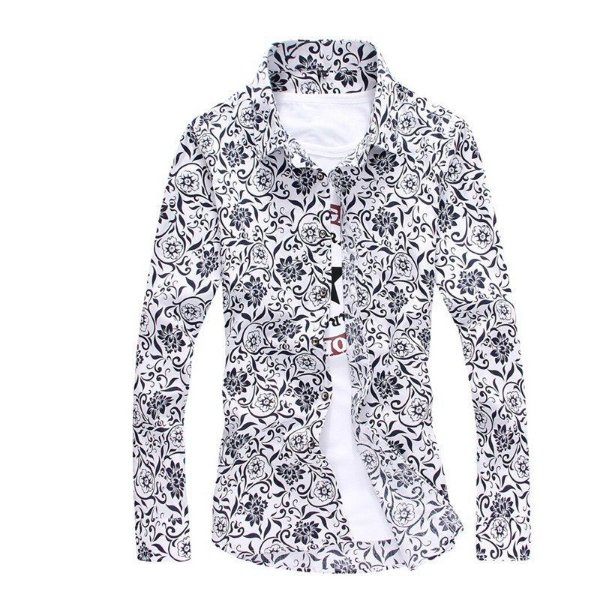 Camisa Floral Arabescos Branco e Preto - Masculina