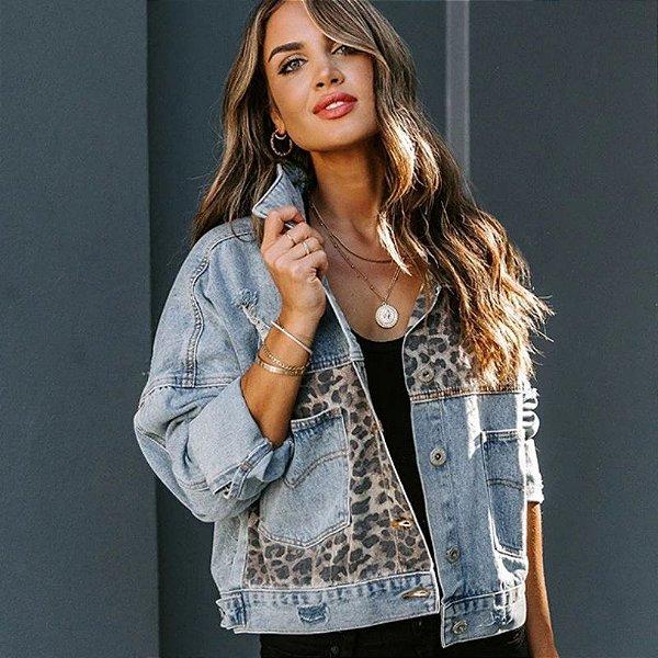 Jaqueta Jeans Recortes Leopard