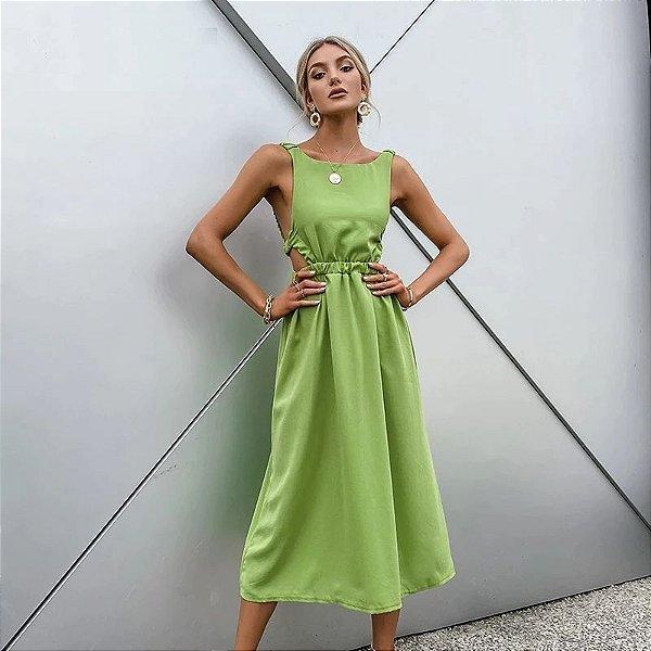 Vestido Midi com Elástico nas Costas - 2 cores
