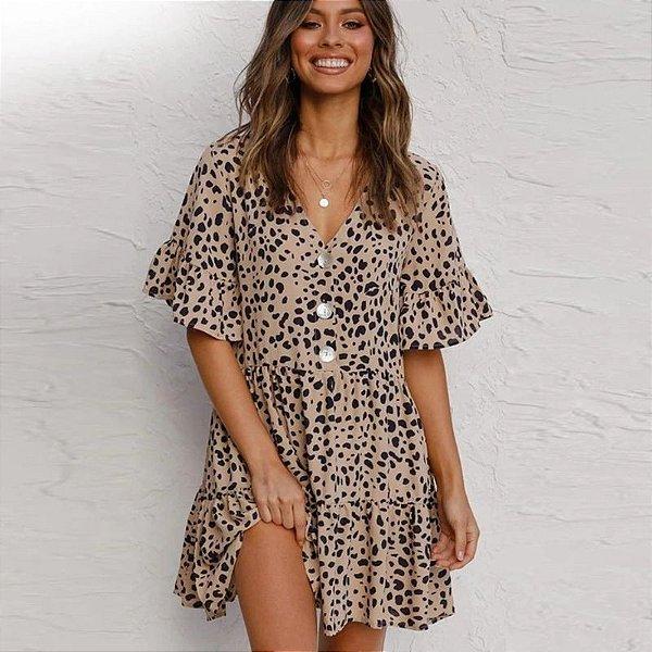 Vestido Curto Leopard