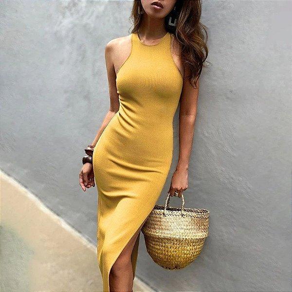 Vestido Midi Canelado com Fenda - 3 cores