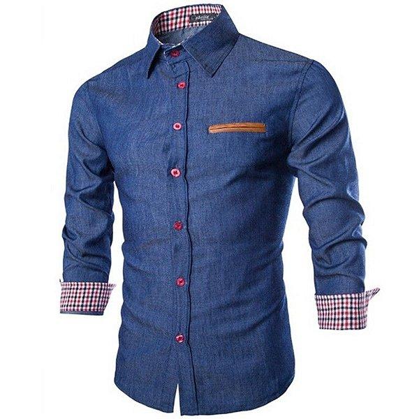 Camisa Masculina Detalhe Couro - 2 cores