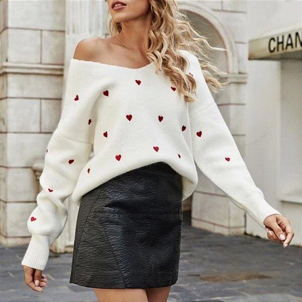 Suéter Bordado Coração - 6 cores