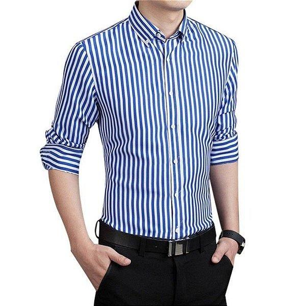Camisa Masculina Listrada Azul