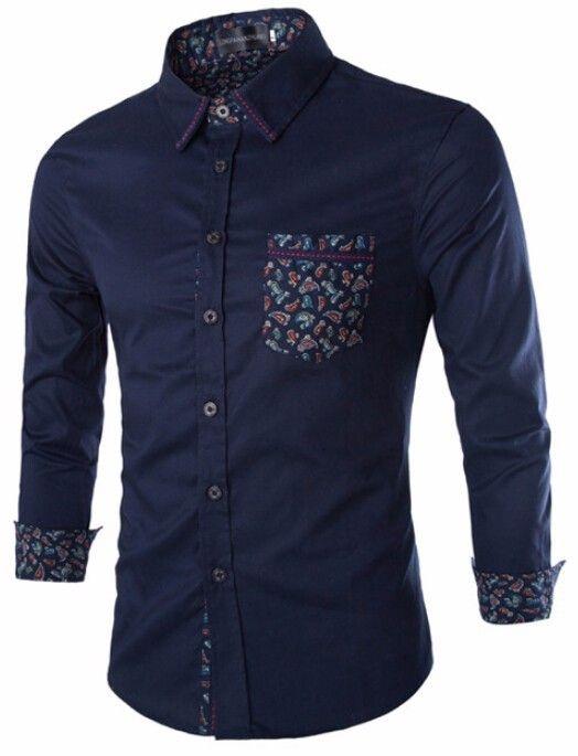 Camisa Masculina Azul com Detalhe Estampado