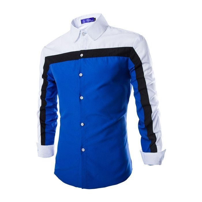 Camisa Masculina Contraste Azul