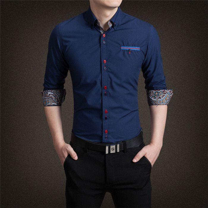 Camisa Punho Estampado Azul Escuro - Masculina