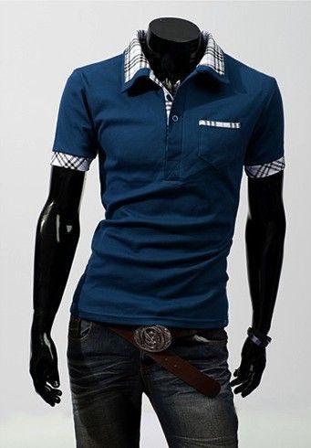 Camiseta Masculina Detalhe Xadrez Azul