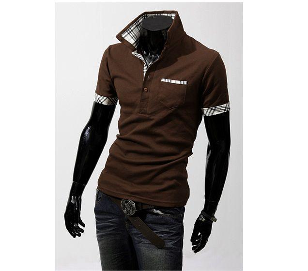 Camiseta Masculina Detalhe Xadrez Marrom
