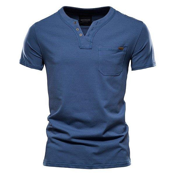 Camiseta Masculina Gola V Botões - 7 cores