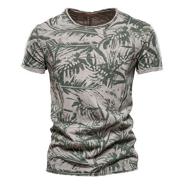 Camiseta Estampa Folhagens - 3 cores