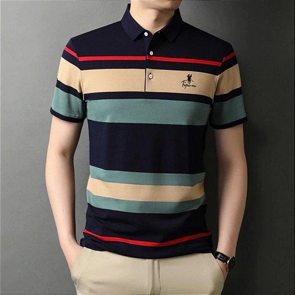 Camisa Polo Masculina Listras - 2 cores