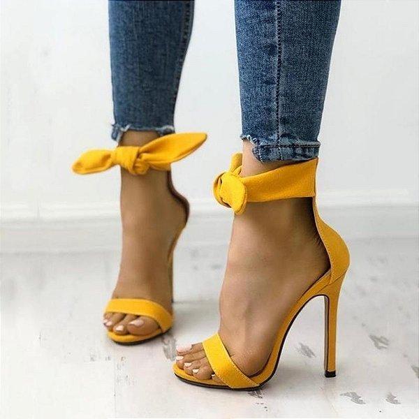 Sandália Salto Camurça Lace Up - 3 cores